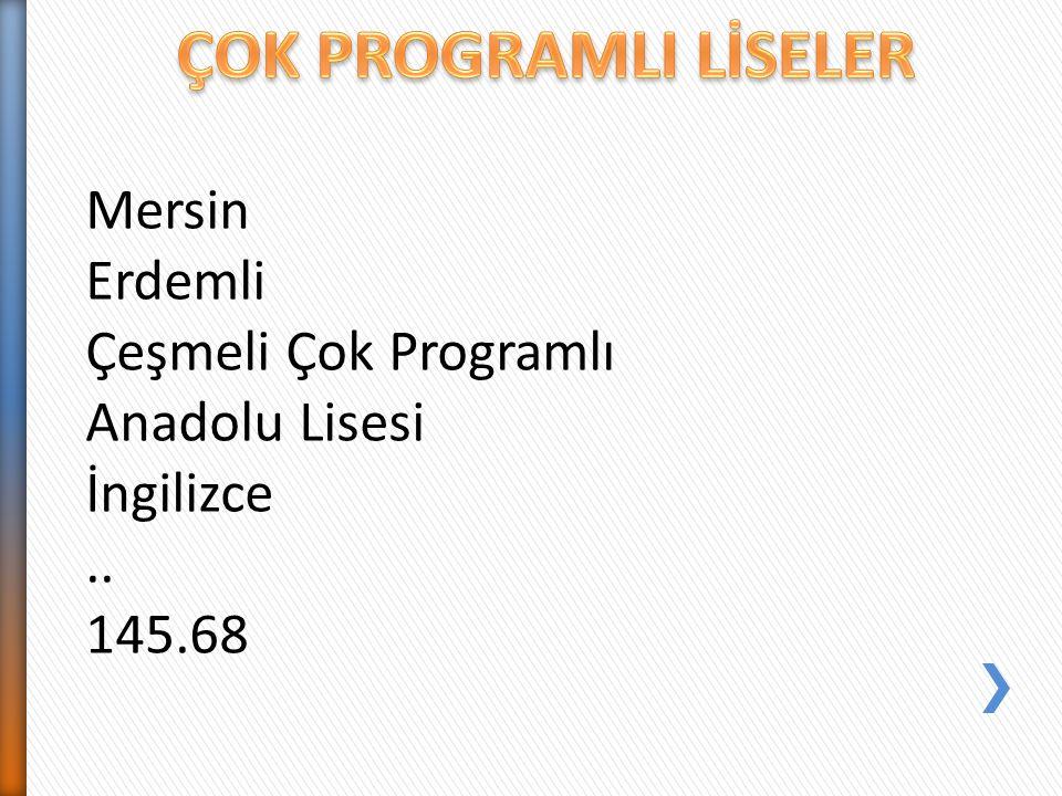 Mersin Erdemli Çeşmeli Çok Programlı Anadolu Lisesi İngilizce.. 145.68