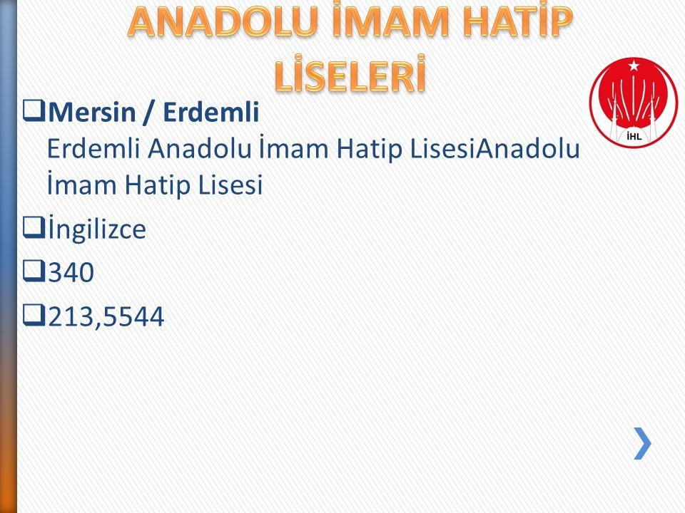  Mersin / Erdemli Erdemli Anadolu İmam Hatip LisesiAnadolu İmam Hatip Lisesi  İngilizce  340  213,5544