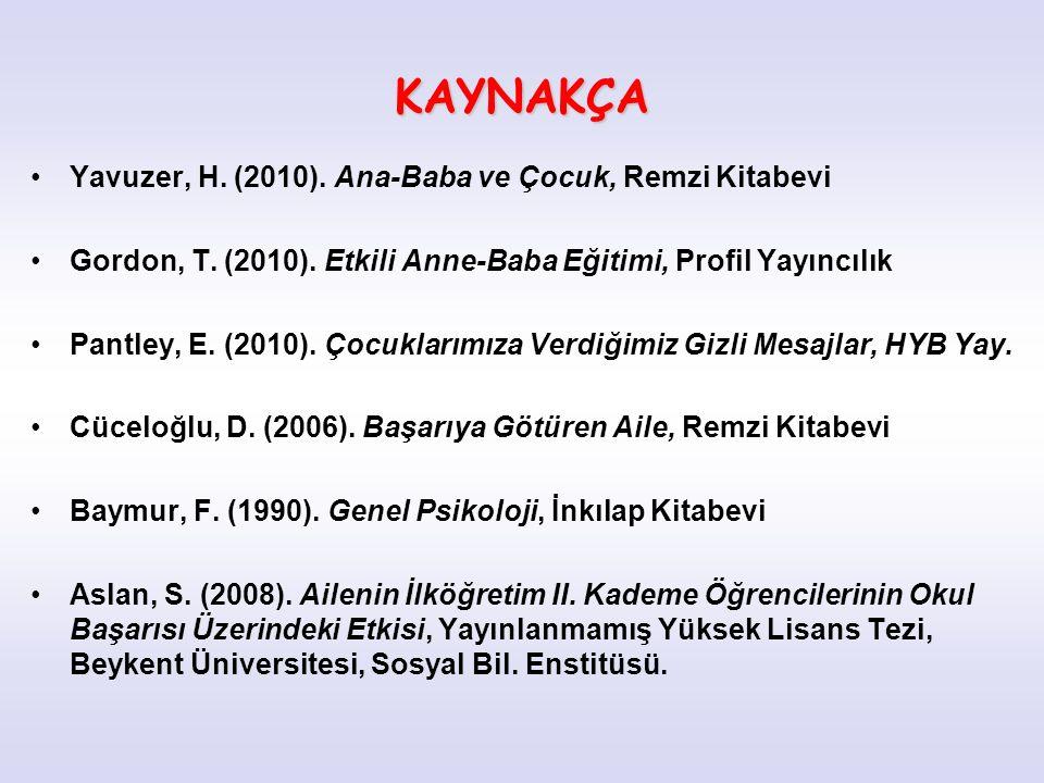 KAYNAKÇA Yavuzer, H. (2010). Ana-Baba ve Çocuk, Remzi Kitabevi Gordon, T. (2010). Etkili Anne-Baba Eğitimi, Profil Yayıncılık Pantley, E. (2010). Çocu