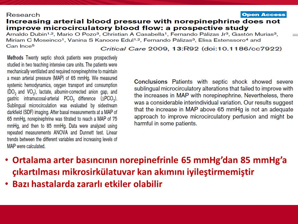 Ortalama arter basıncının norepinefrinle 65 mmHg'dan 85 mmHg'a çıkartılması mikrosirkülatuvar kan akımını iyileştirmemiştir Bazı hastalarda zararlı et