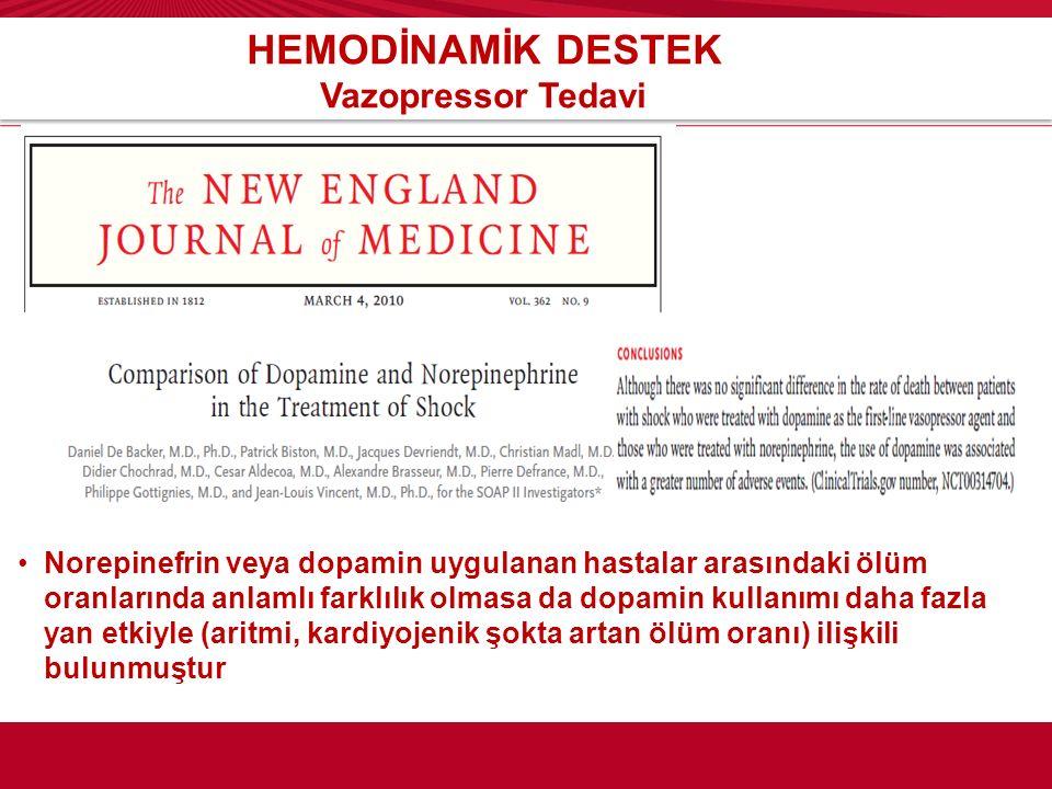 HEMODİNAMİK DESTEK Vazopressor Tedavi Norepinefrin veya dopamin uygulanan hastalar arasındaki ölüm oranlarında anlamlı farklılık olmasa da dopamin kul