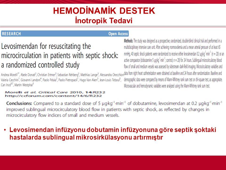 HEMODİNAMİK DESTEK İnotropik Tedavi Levosimendan infüzyonu dobutamin infüzyonuna göre septik şoktaki hastalarda sublingual mikrosirkülasyonu artırmışt