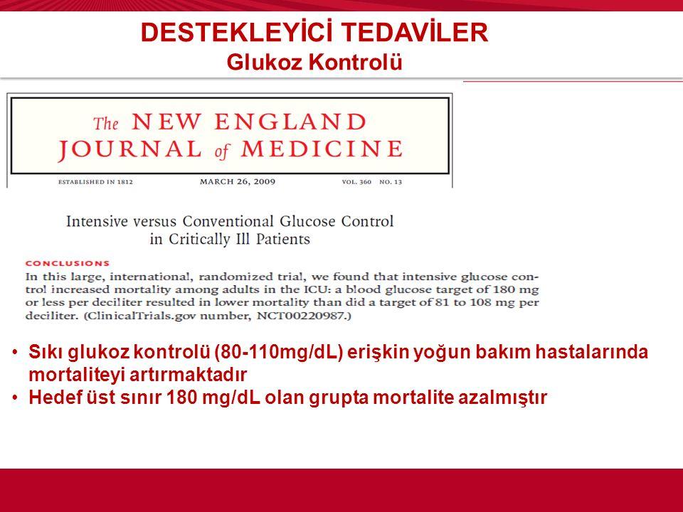 DESTEKLEYİCİ TEDAVİLER Glukoz Kontrolü Sıkı glukoz kontrolü (80-110mg/dL) erişkin yoğun bakım hastalarında mortaliteyi artırmaktadır Hedef üst sınır 1