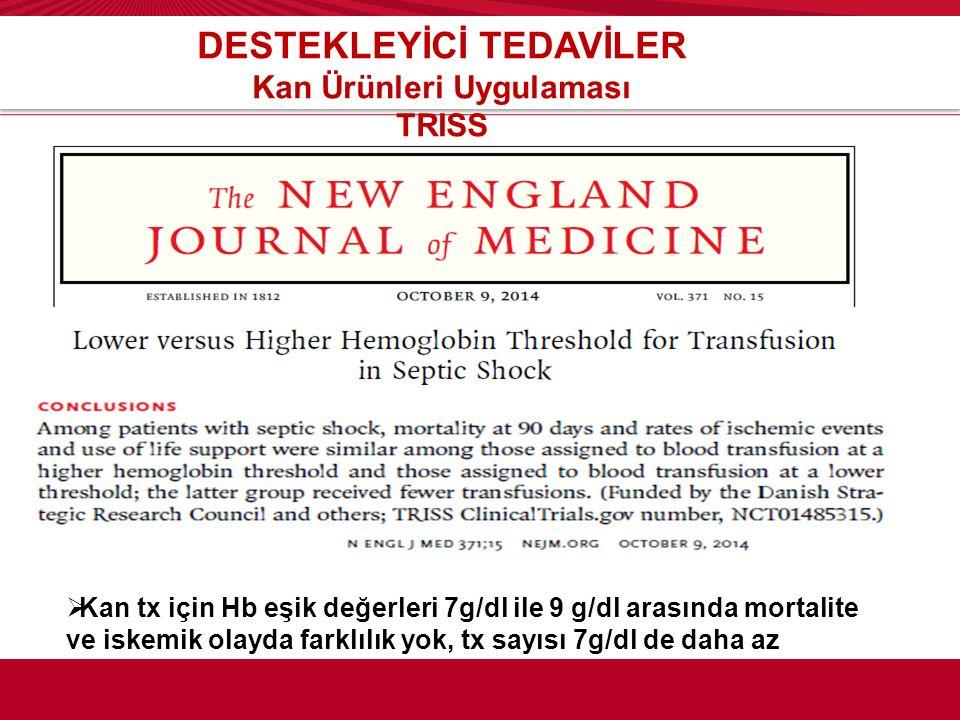 DESTEKLEYİCİ TEDAVİLER Kan Ürünleri Uygulaması TRISS  Kan tx için Hb eşik değerleri 7g/dl ile 9 g/dl arasında mortalite ve iskemik olayda farklılık y