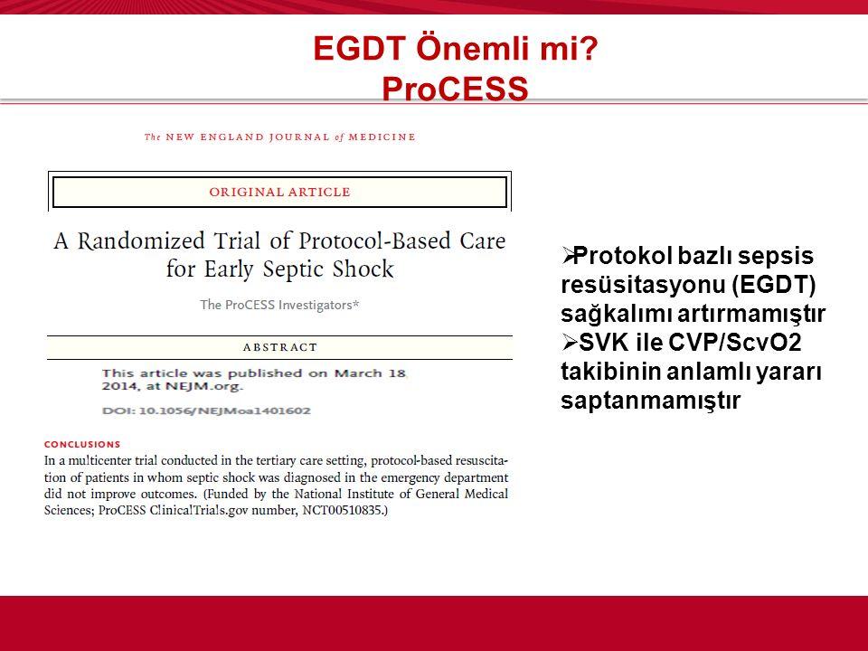 EGDT Önemli mi? ProCESS  Protokol bazlı sepsis resüsitasyonu (EGDT) sağkalımı artırmamıştır  SVK ile CVP/ScvO2 takibinin anlamlı yararı saptanmamışt