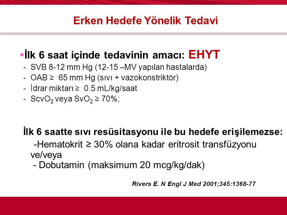 Erken Hedefe Yönelik Tedavi  İlk 6 saat içinde tedavinin amacı: EHYT -SVB 8-12 mm Hg (12-15 –MV yapılan hastalarda) -OAB ≥ 65 mm Hg (sıvı + vazokonst