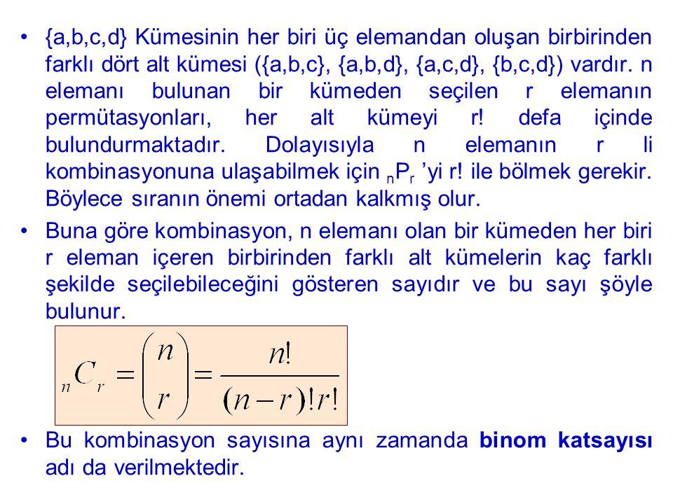 {a,b,c,d} Kümesinin her biri üç elemandan oluşan birbirinden farklı dört alt kümesi ({a,b,c}, {a,b,d}, {a,c,d}, {b,c,d}) vardır. n elemanı bulunan bir