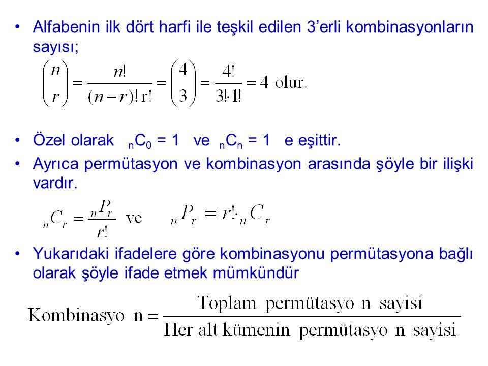 Alfabenin ilk dört harfi ile teşkil edilen 3'erli kombinasyonların sayısı; Özel olarak n C 0 = 1 ve n C n = 1 e eşittir. Ayrıca permütasyon ve kombina