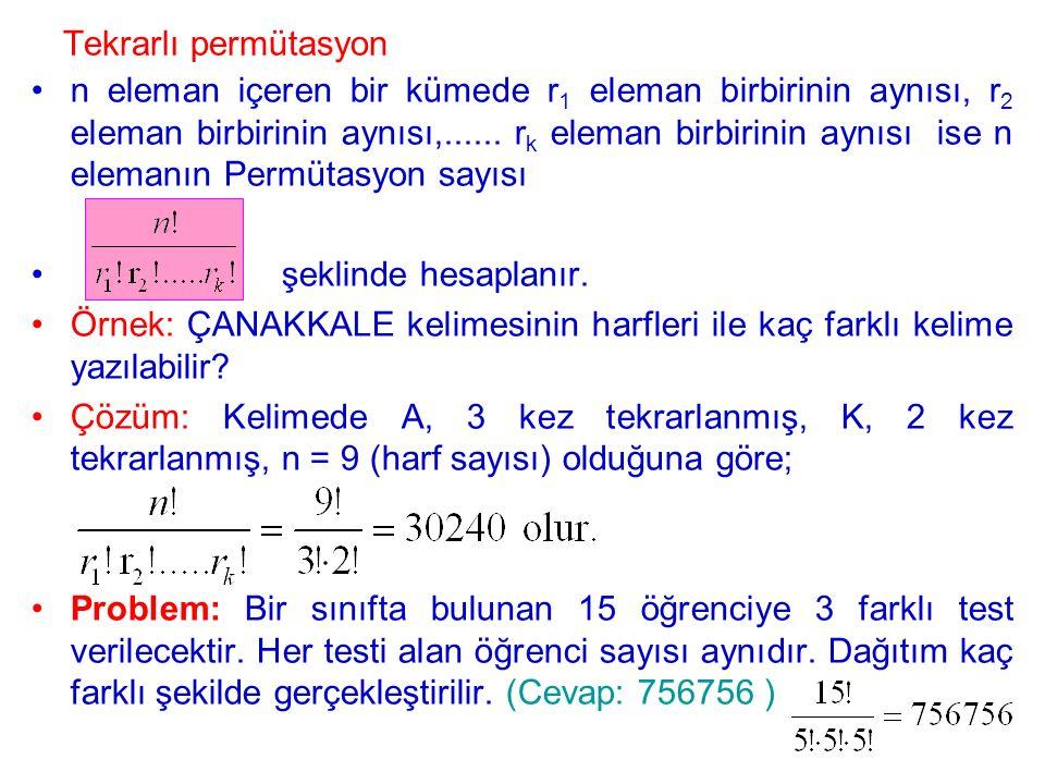 Tekrarlı permütasyon n eleman içeren bir kümede r 1 eleman birbirinin aynısı, r 2 eleman birbirinin aynısı,...... r k eleman birbirinin aynısı ise n e