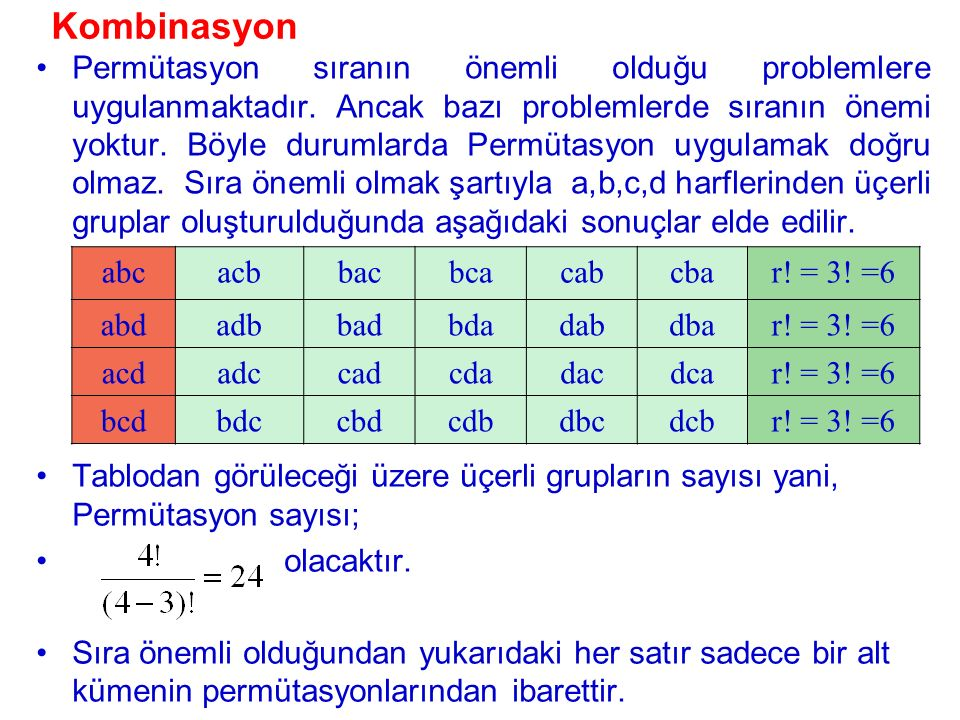 Kombinasyon Tablodan görüleceği üzere üçerli grupların sayısı yani, Permütasyon sayısı; olacaktır. Sıra önemli olduğundan yukarıdaki her satır sadece