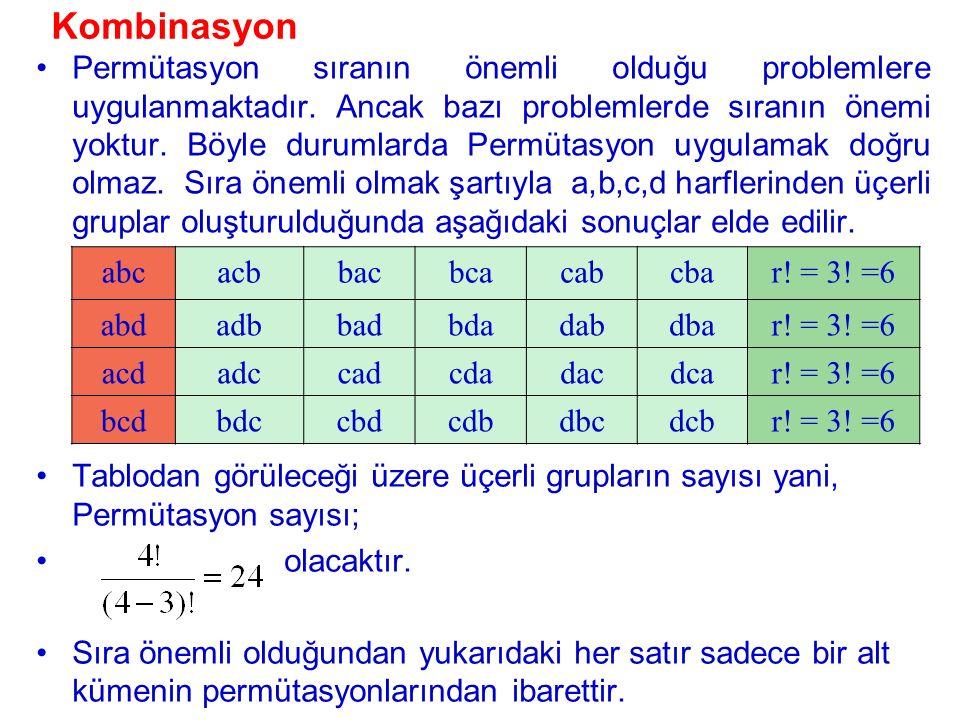 {a,b,c,d} Kümesinin her biri üç elemandan oluşan birbirinden farklı dört alt kümesi ({a,b,c}, {a,b,d}, {a,c,d}, {b,c,d}) vardır.