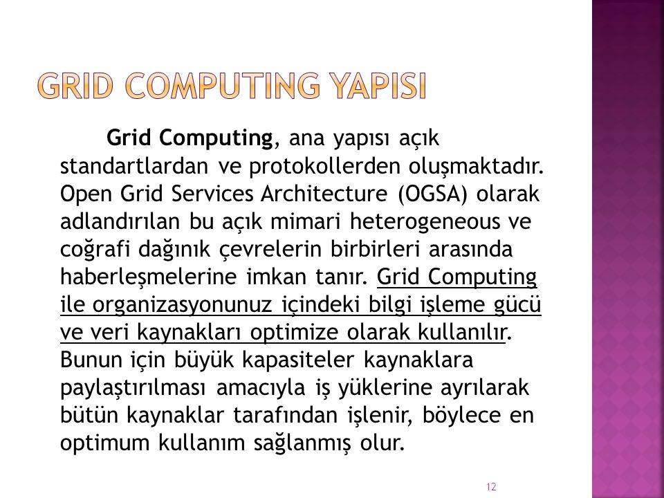 Grid Computing, ana yapısı açık standartlardan ve protokollerden oluşmaktadır. Open Grid Services Architecture (OGSA) olarak adlandırılan bu açık mima