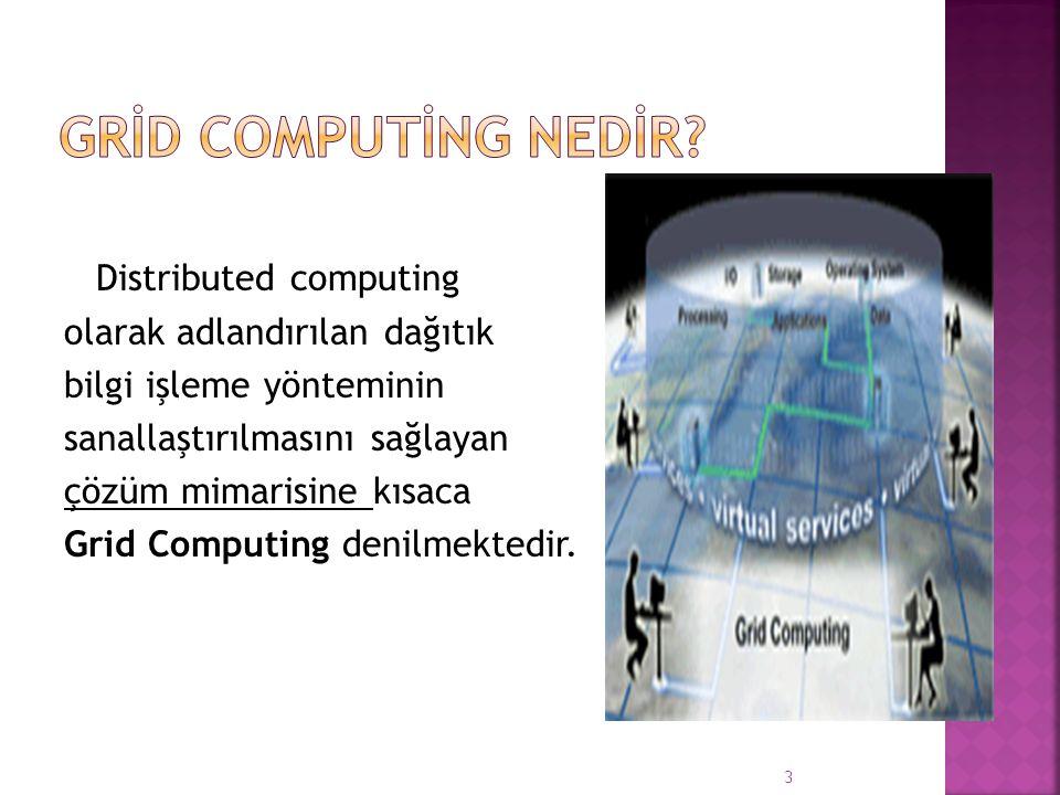 Grid Computing, sistem üzerindeki server ve bilgisayarların tek bir şebeke üzerinden birleşerek güçlerini paylaşması ve bu sayede hız ve performanslarını arttırması diyebiliriz.