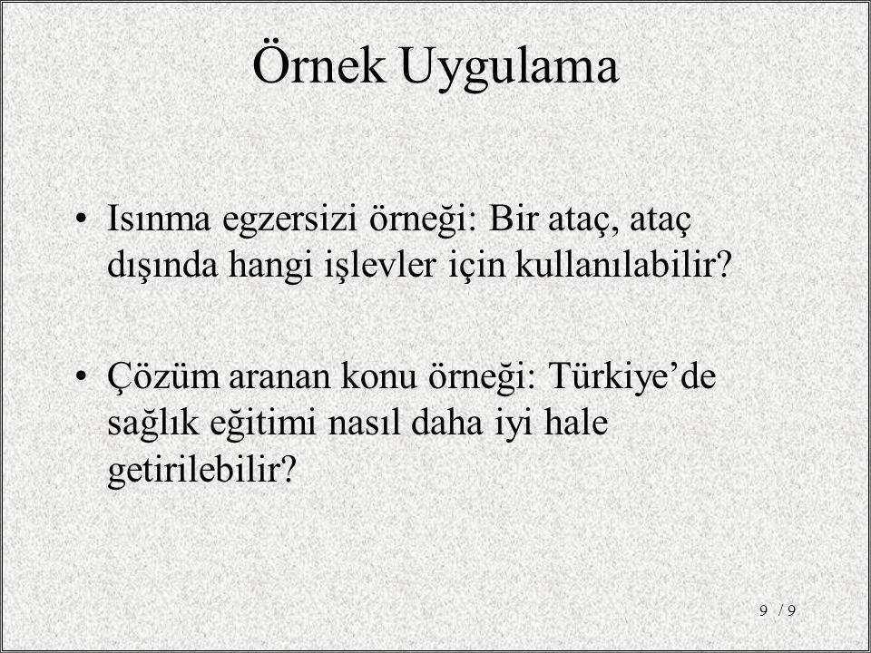 Örnek Uygulama Isınma egzersizi örneği: Bir ataç, ataç dışında hangi işlevler için kullanılabilir? Çözüm aranan konu örneği: Türkiye'de sağlık eğitimi