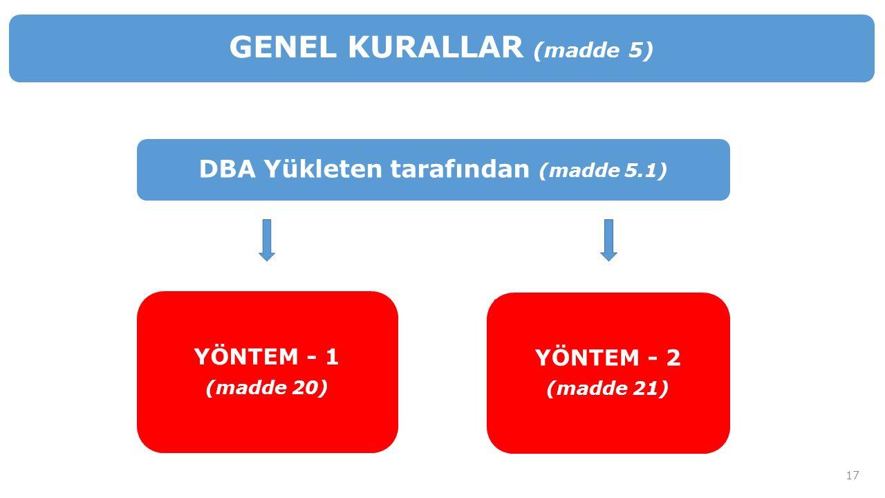 DBA Yükleten tarafından (madde 5.1) GENEL KURALLAR (madde 5) YÖNTEM - 1 (madde 20) YÖNTEM - 2 (madde 21) 17