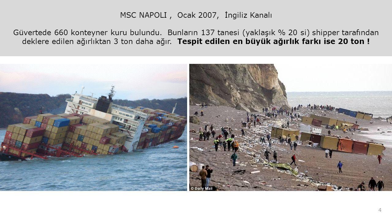 MSC NAPOLI, Ocak 2007, İngiliz Kanalı Güvertede 660 konteyner kuru bulundu.