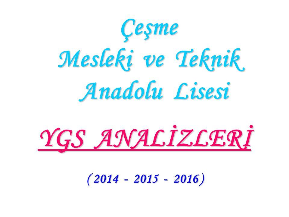 Çeşme Mesleki ve Teknik Anadolu Lisesi YGS ANALİZLERİ ( 2014 - 2015 - 2016 )
