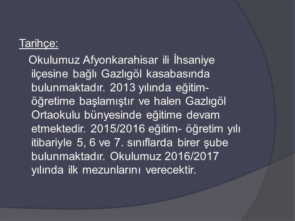 Tarihçe: Okulumuz Afyonkarahisar ili İhsaniye ilçesine bağlı Gazlıgöl kasabasında bulunmaktadır. 2013 yılında eğitim- öğretime başlamıştır ve halen Ga