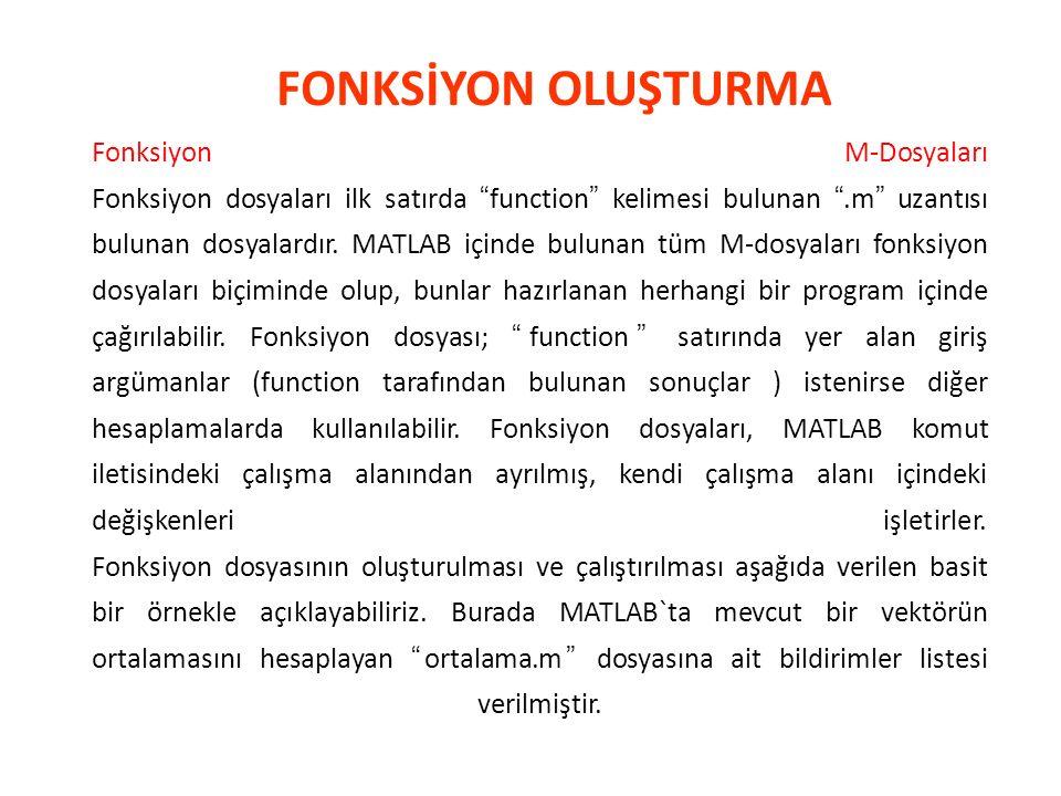 Fonksiyon M-Dosyaları Fonksiyon dosyaları ilk satırda function kelimesi bulunan .m uzantısı bulunan dosyalardır.