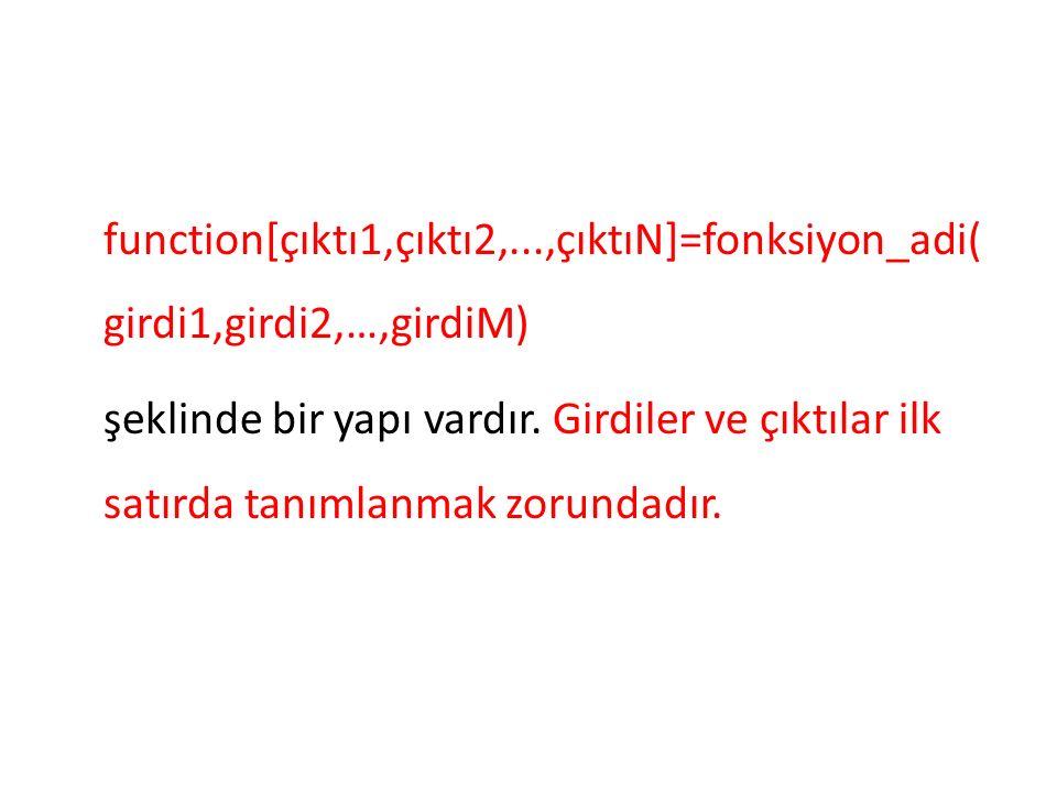 function[çıktı1,çıktı2,...,çıktıN]=fonksiyon_adi( girdi1,girdi2,…,girdiM) şeklinde bir yapı vardır.