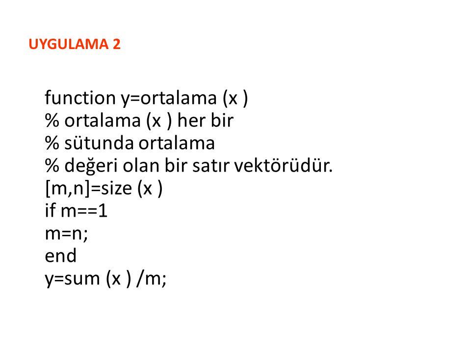 UYGULAMA 2 function y=ortalama (x ) % ortalama (x ) her bir % sütunda ortalama % değeri olan bir satır vektörüdür.