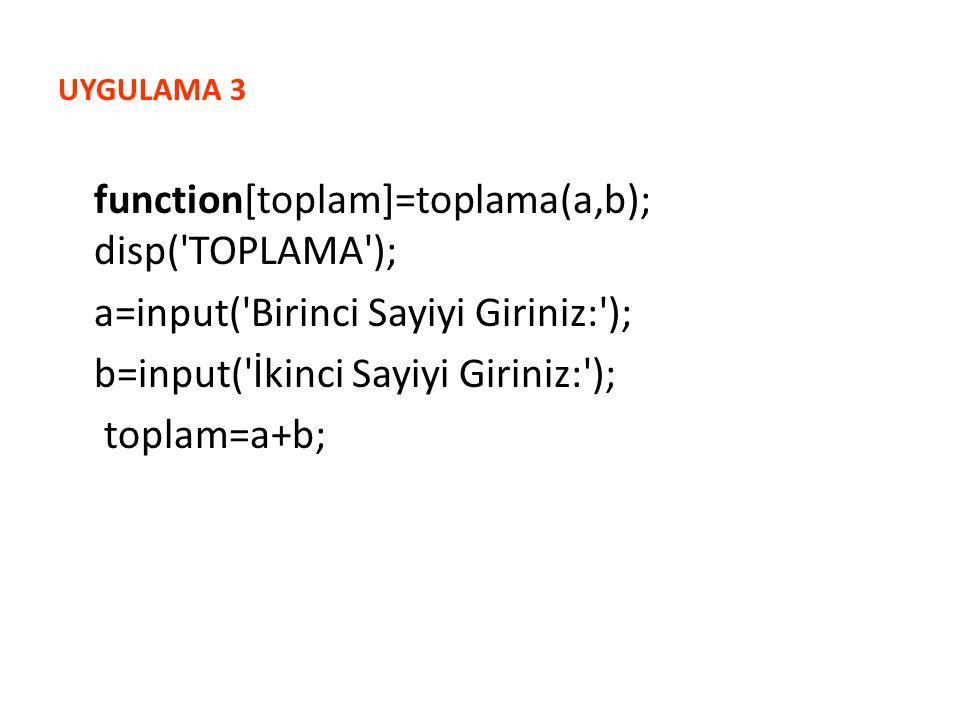 UYGULAMA 3 function[toplam]=toplama(a,b); disp( TOPLAMA ); a=input( Birinci Sayiyi Giriniz: ); b=input( İkinci Sayiyi Giriniz: ); toplam=a+b;