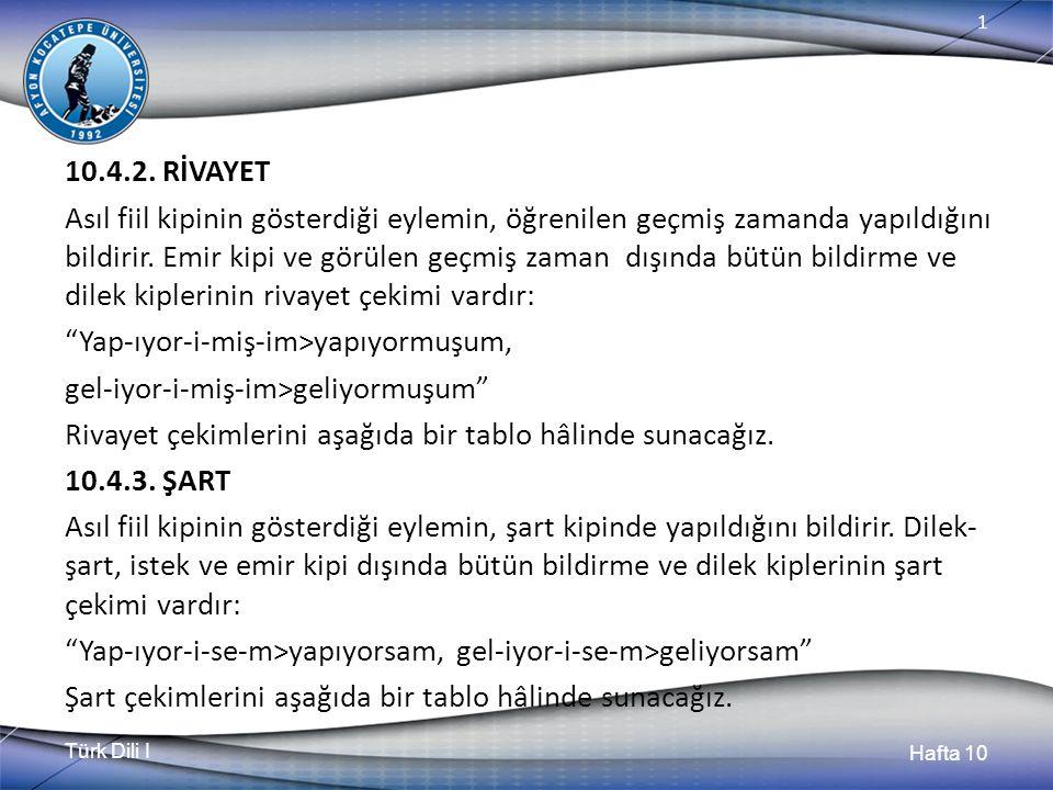 Türk Dili I Hafta 10 1 10.4.2. RİVAYET Asıl fiil kipinin gösterdiği eylemin, öğrenilen geçmiş zamanda yapıldığını bildirir. Emir kipi ve görülen geçmi