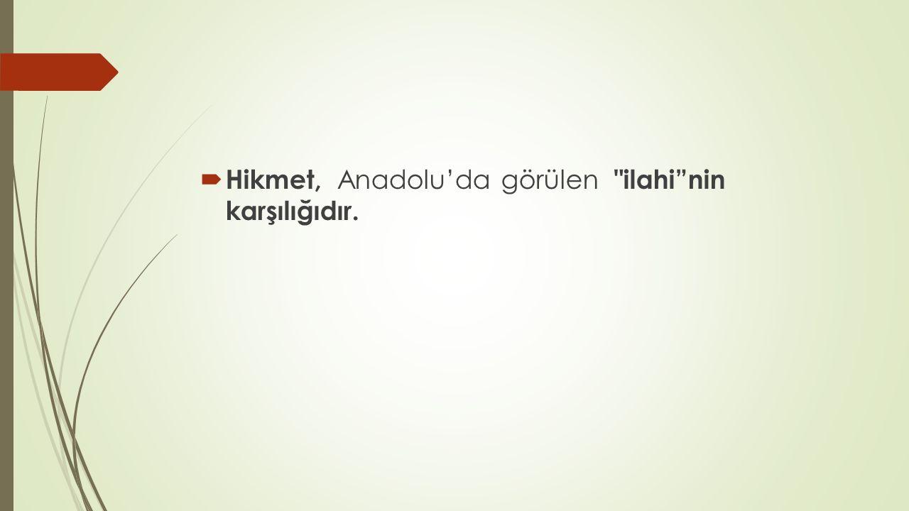  Hikmet, Anadolu'da görülen