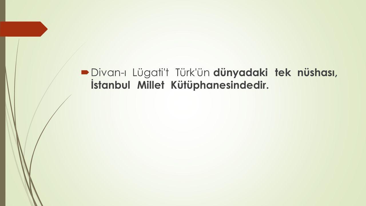  Divan-ı Lügati't Türk'ün dünyadaki tek nüshası, İstanbul Millet Kütüphanesindedir.