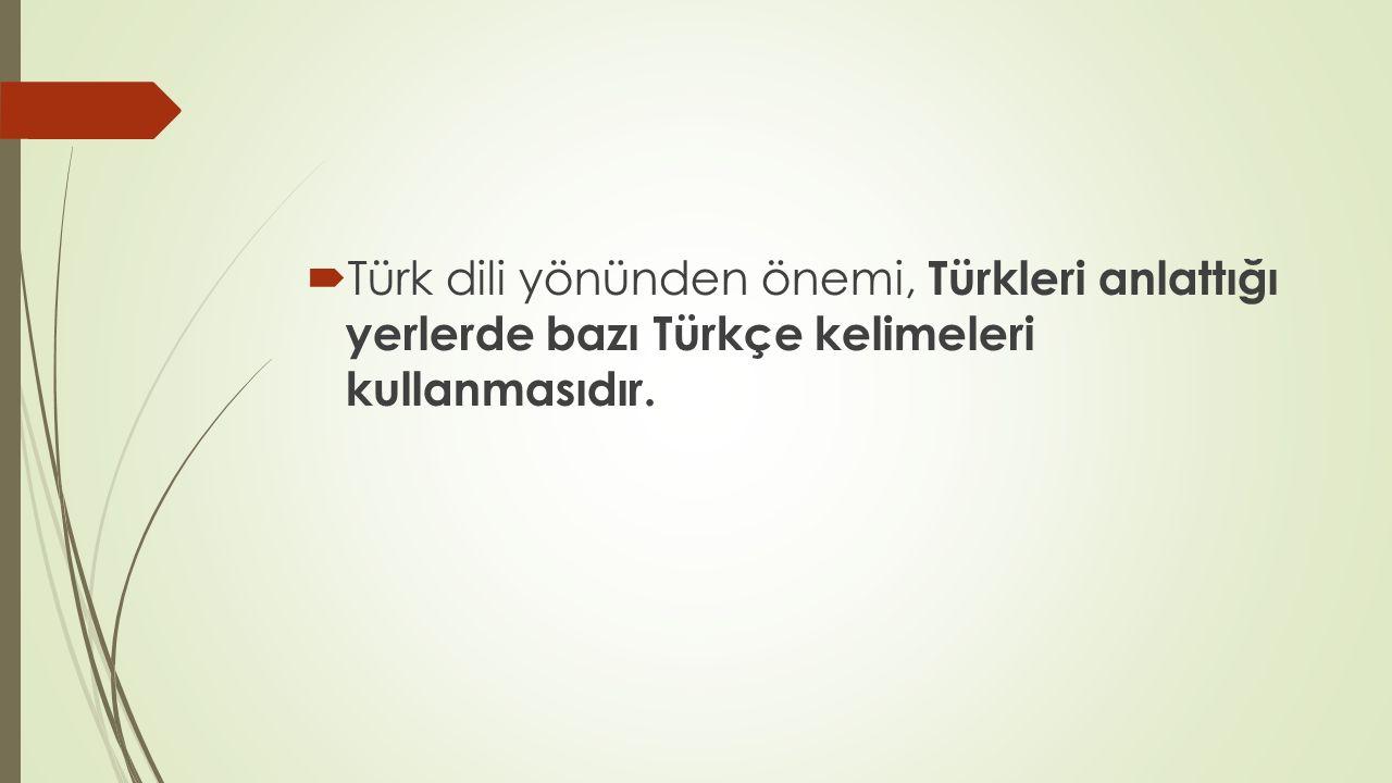  Türk dili yönünden önemi, Türkleri anlattığı yerlerde bazı Türkçe kelimeleri kullanmasıdır.
