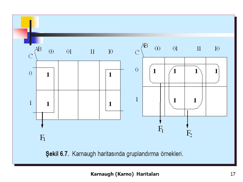 17 Şekil 6.7. Karnaugh haritasında gruplandırma örnekleri. Karnaugh (Karno) Haritaları