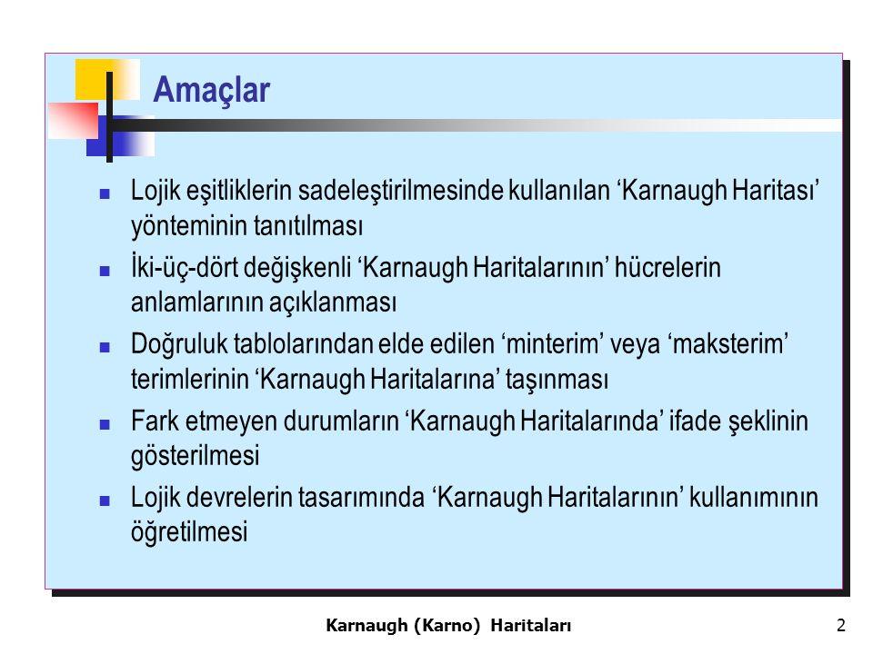 Karnaugh (Karno) Haritaları 2 Amaçlar Lojik eşitliklerin sadeleştirilmesinde kullanılan 'Karnaugh Haritası' yönteminin tanıtılması İki-üç-dört değişkenli 'Karnaugh Haritalarının' hücrelerin anlamlarının açıklanması Doğruluk tablolarından elde edilen 'minterim' veya 'maksterim' terimlerinin 'Karnaugh Haritalarına' taşınması Fark etmeyen durumların 'Karnaugh Haritalarında' ifade şeklinin gösterilmesi Lojik devrelerin tasarımında 'Karnaugh Haritalarının' kullanımının öğretilmesi