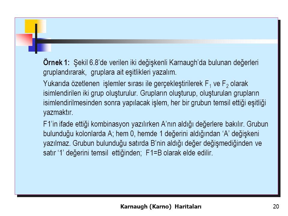 Örnek 1: Şekil 6.8'de verilen iki değişkenli Karnaugh'da bulunan değerleri gruplandırarak, gruplara ait eşitlikleri yazalım.