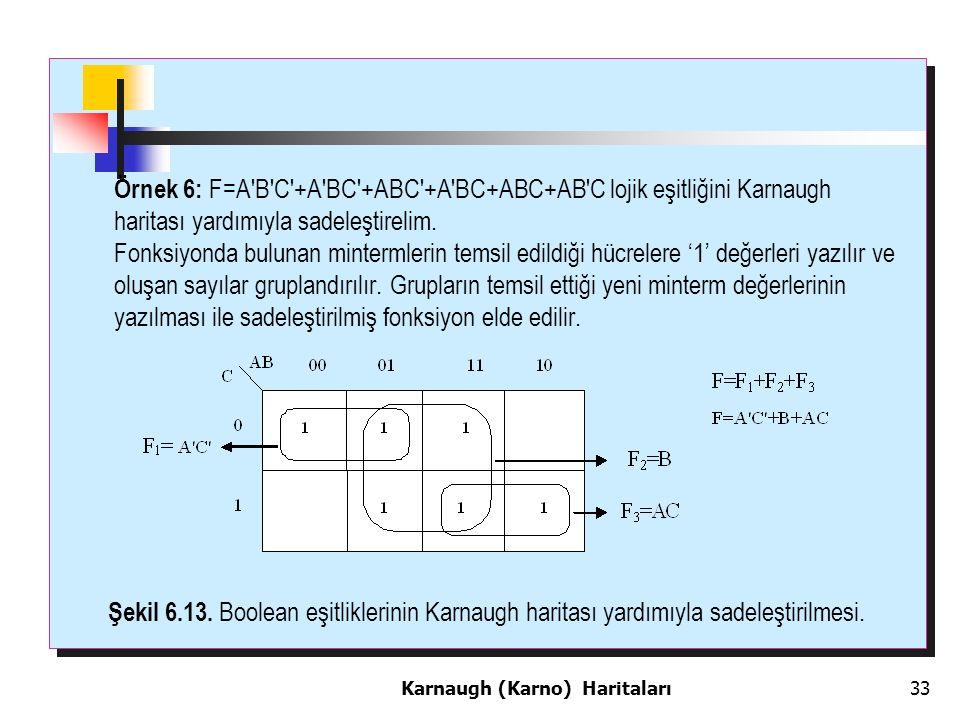 Örnek 6: F=A B C +A BC +ABC +A BC+ABC+AB C lojik eşitliğini Karnaugh haritası yardımıyla sadeleştirelim.