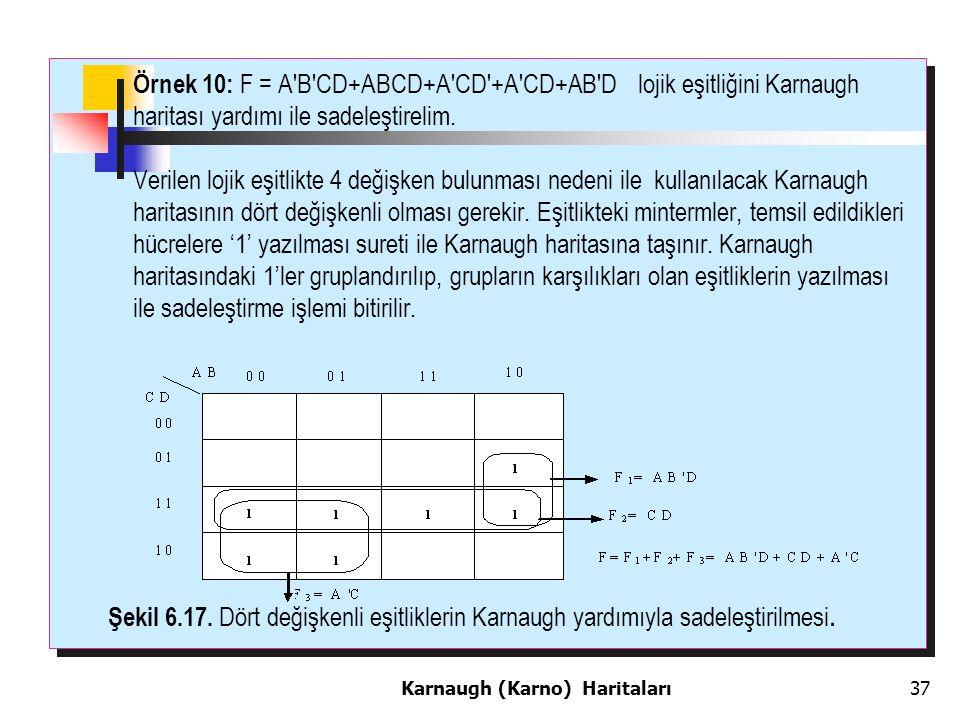 Örnek 10: F = A B CD+ABCD+A CD +A CD+AB D lojik eşitliğini Karnaugh haritası yardımı ile sadeleştirelim.