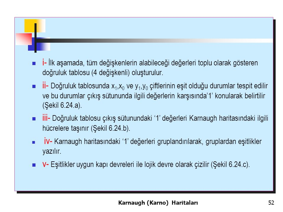 i- İlk aşamada, tüm değişkenlerin alabileceği değerleri toplu olarak gösteren doğruluk tablosu (4 değişkenli) oluşturulur.