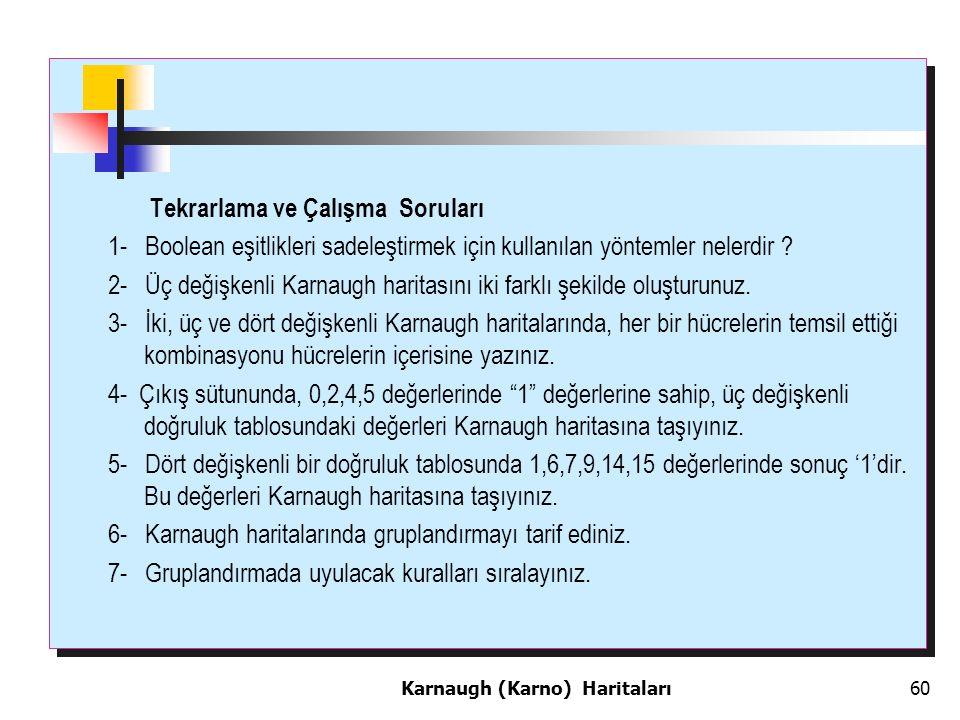 Tekrarlama ve Çalışma Soruları 1- Boolean eşitlikleri sadeleştirmek için kullanılan yöntemler nelerdir .