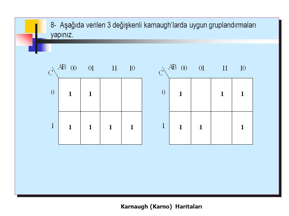 8- Aşağıda verilen 3 değişkenli karnaugh'larda uygun gruplandırmaları yapınız.