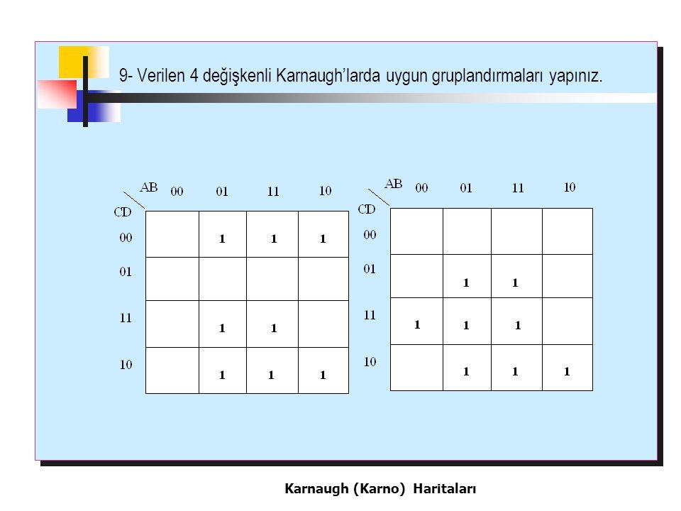 9- Verilen 4 değişkenli Karnaugh'larda uygun gruplandırmaları yapınız. Karnaugh (Karno) Haritaları