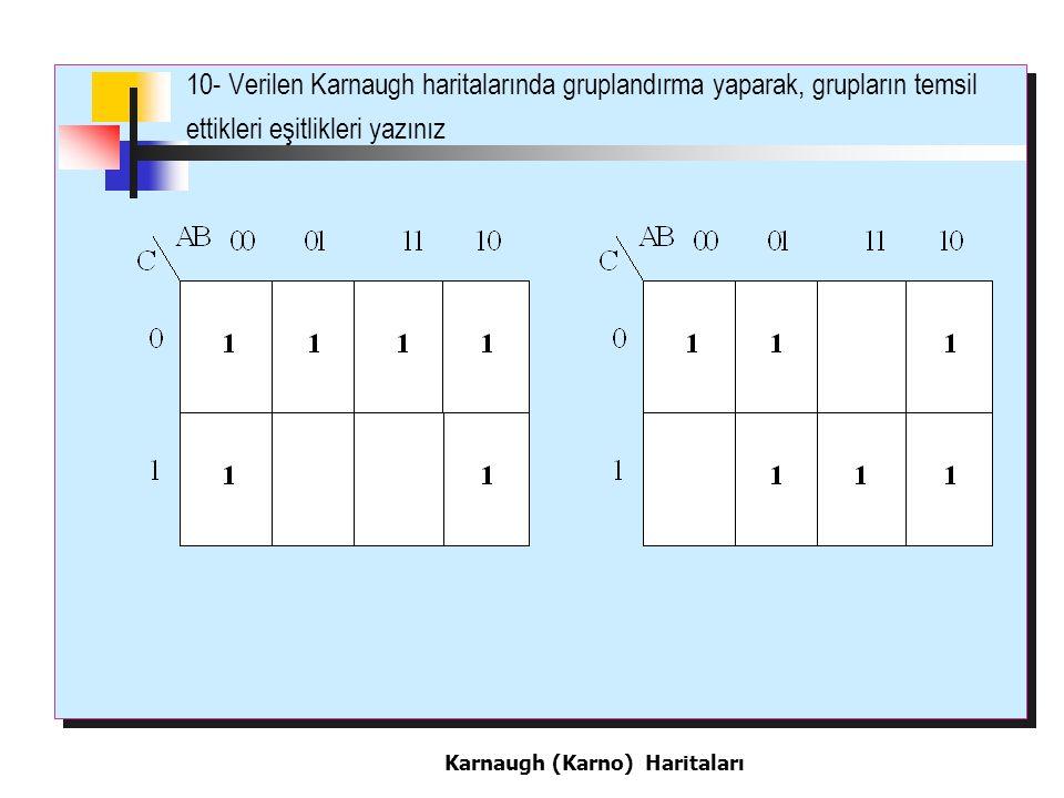 10- Verilen Karnaugh haritalarında gruplandırma yaparak, grupların temsil ettikleri eşitlikleri yazınız Karnaugh (Karno) Haritaları
