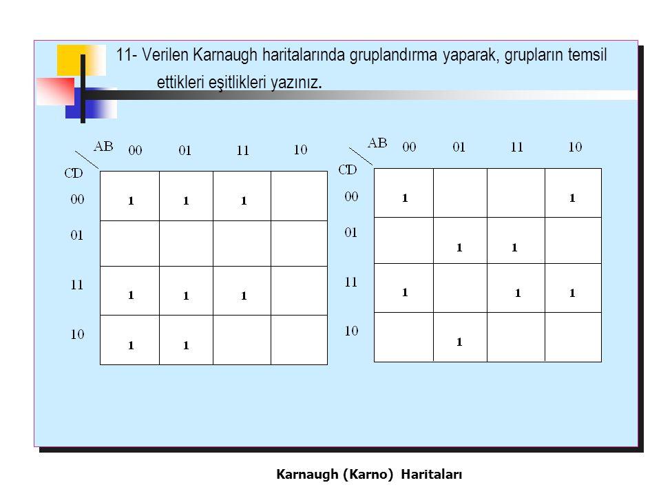 11- Verilen Karnaugh haritalarında gruplandırma yaparak, grupların temsil ettikleri eşitlikleri yazınız.