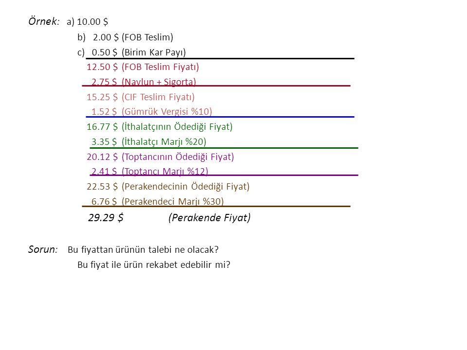 Örnek : a) 10.00 $ b) 2.00 $(FOB Teslim) c) 0.50 $(Birim Kar Payı) 12.50 $(FOB Teslim Fiyatı) 2.75 $(Navlun + Sigorta) 15.25 $(CIF Teslim Fiyatı) 1.52