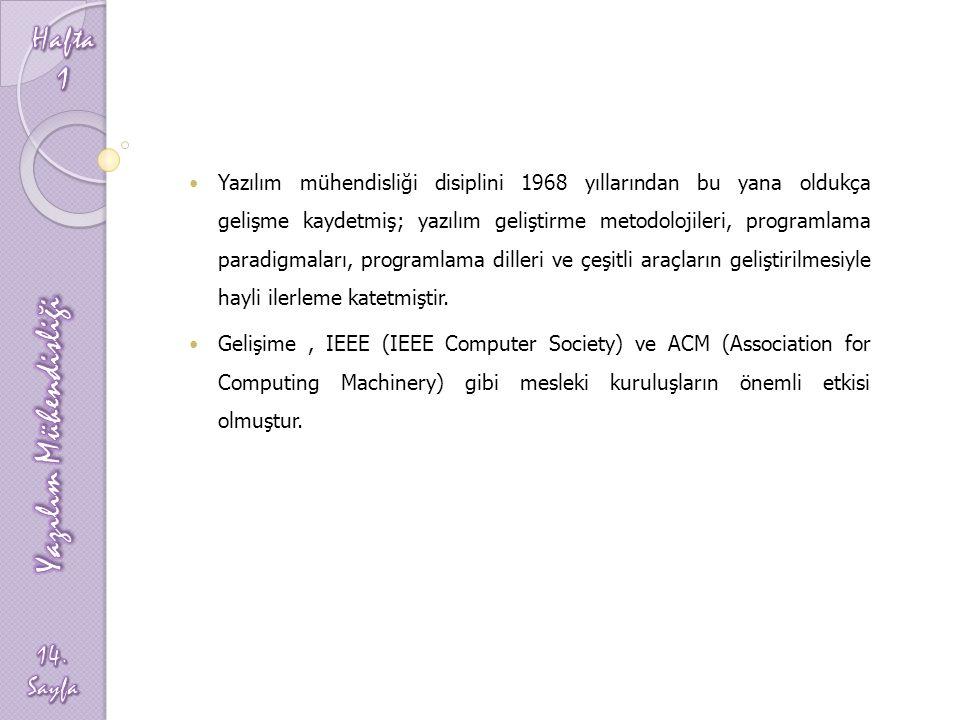 Yazılım mühendisliği disiplini 1968 yıllarından bu yana oldukça gelişme kaydetmiş; yazılım geliştirme metodolojileri, programlama paradigmaları, progr