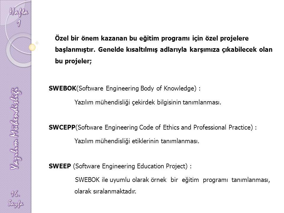 Özel bir önem kazanan bu eğitim programı için özel projelere başlanmıştır. Genelde kısaltılmış adlarıyla karşımıza çıkabilecek olan bu projeler; SWEBO