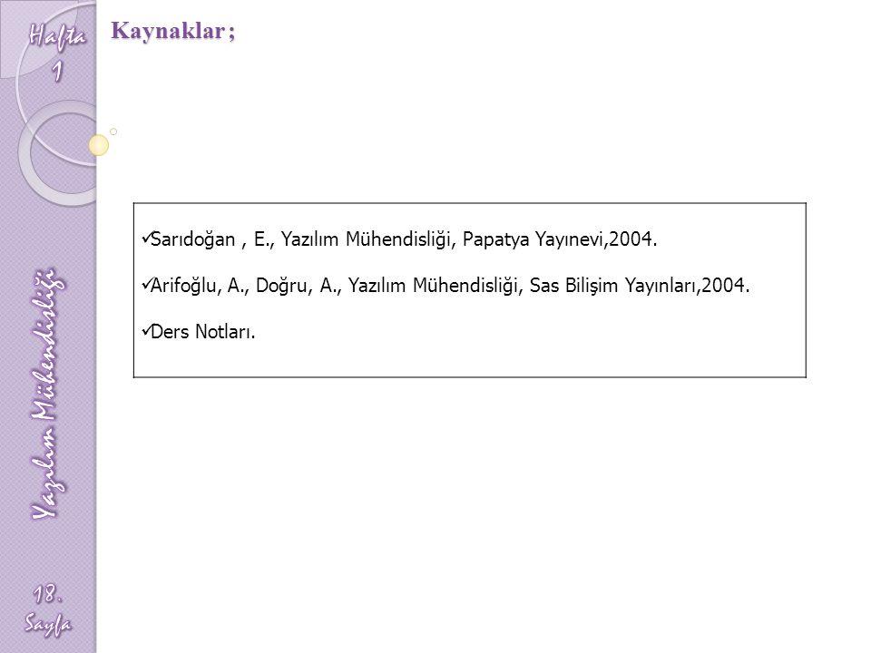 Kaynaklar ; Sarıdoğan, E., Yazılım Mühendisliği, Papatya Yayınevi,2004. Arifoğlu, A., Doğru, A., Yazılım Mühendisliği, Sas Bilişim Yayınları,2004. Der
