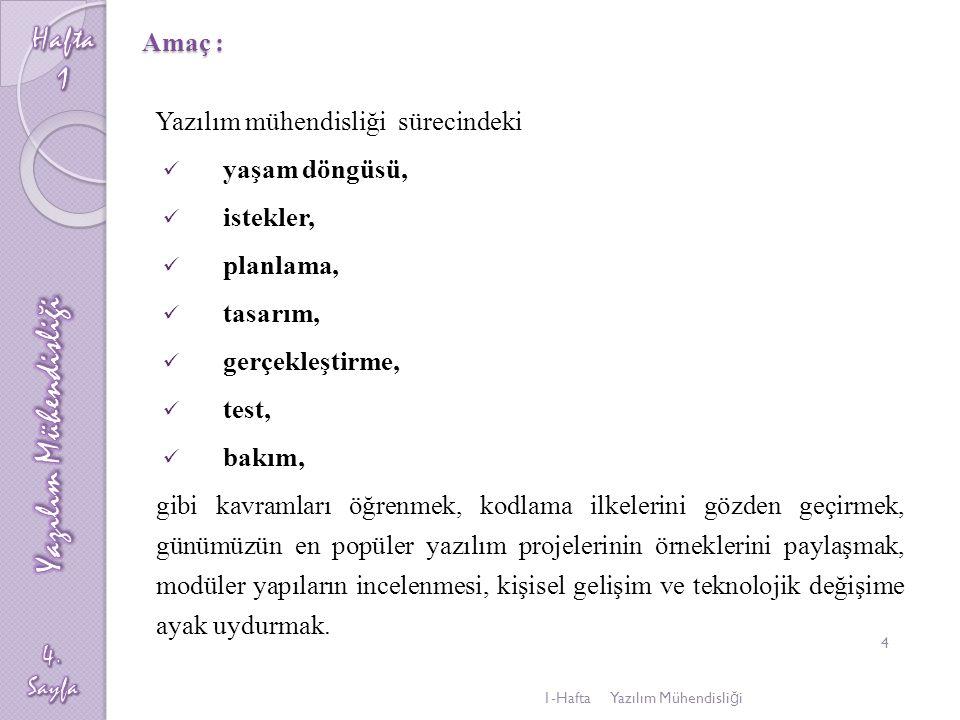 Ders İçeriği ; 1.( 1.Hft) Yazılım nedir, Yazılım mühendisliği ve eğitimi, 2.
