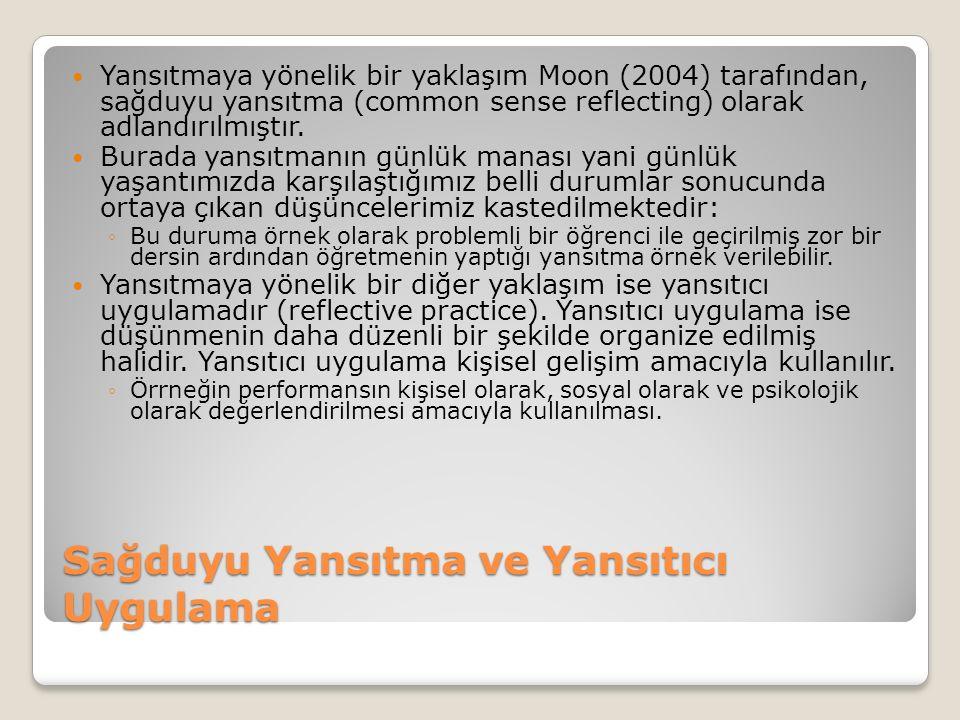 Sağduyu Yansıtma ve Yansıtıcı Uygulama Yansıtmaya yönelik bir yaklaşım Moon (2004) tarafından, sağduyu yansıtma (common sense reflecting) olarak adlandırılmıştır.