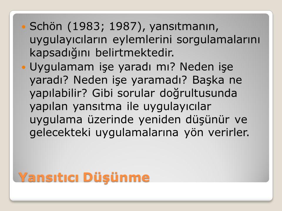 Yansıtıcı Düşünme Schön (1983; 1987), yansıtmanın, uygulayıcıların eylemlerini sorgulamalarını kapsadığını belirtmektedir.