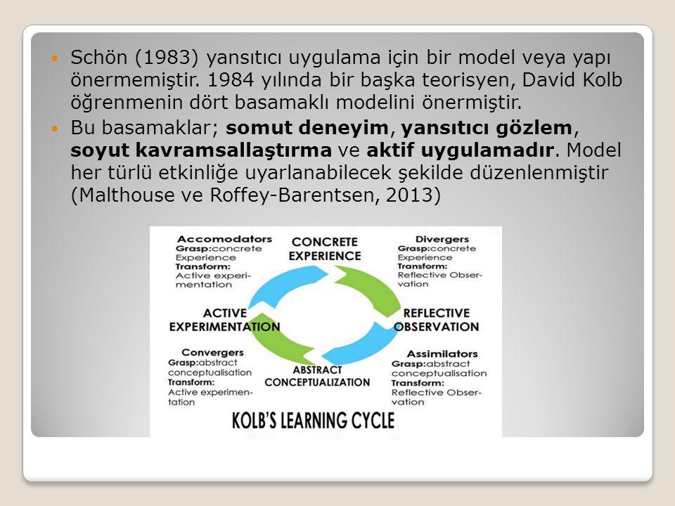 Schön (1983) yansıtıcı uygulama için bir model veya yapı önermemiştir.