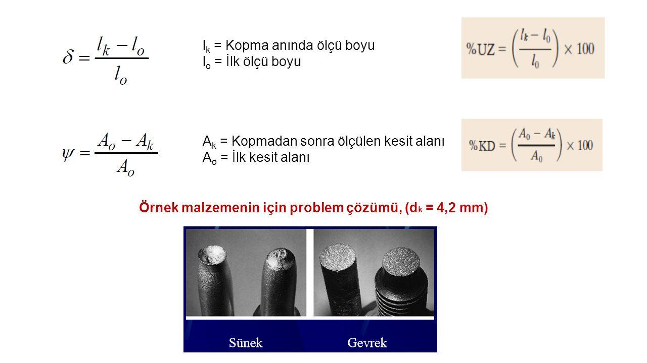 l k = Kopma anında ölçü boyu l o = İlk ölçü boyu A k = Kopmadan sonra ölçülen kesit alanı A o = İlk kesit alanı Örnek malzemenin için problem çözümü, (d k = 4,2 mm)